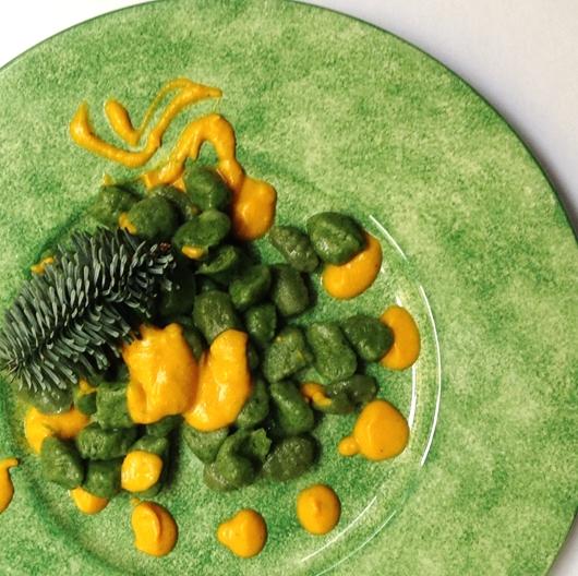 Gnocchi di spinaci con crema di zucca allo zenzero
